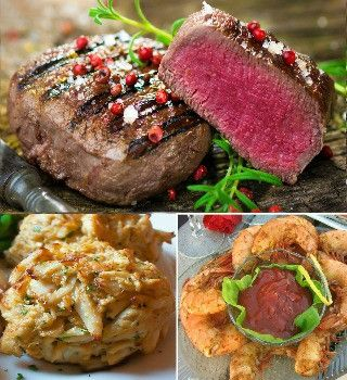 Surf and Turf Beef, Crab Cakes and Shrimp